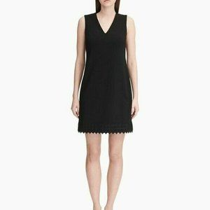Calvin Klein Check Trim Sleeveless Sheath Dress 6